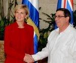 El Canciller cubano y su homóloga australiana, Julie Bishop. Foto: Prensa Latina.