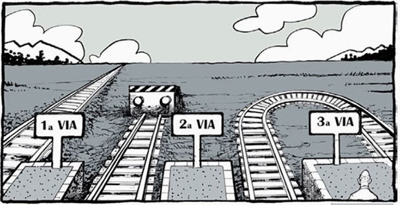 """Caricatura sobre """"La Tercera Vía""""."""