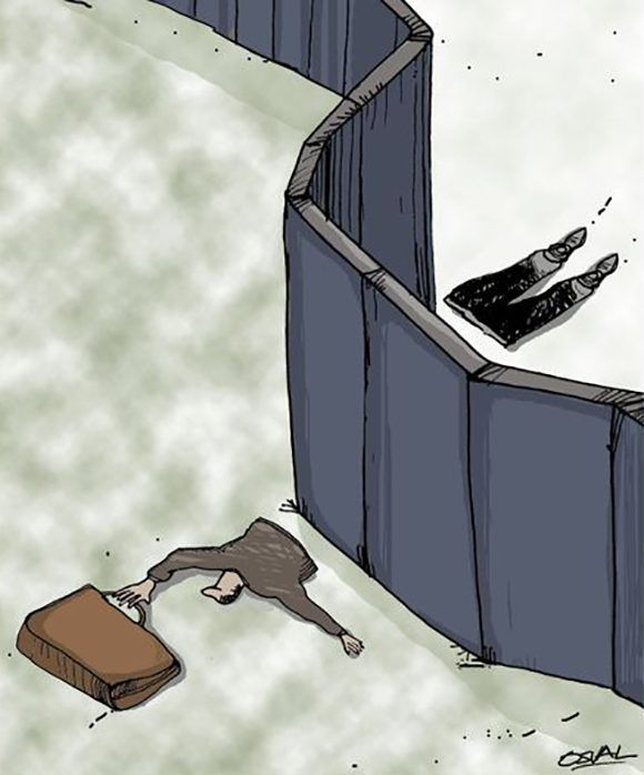 """""""Fronteras"""", la caricatura de Osval."""