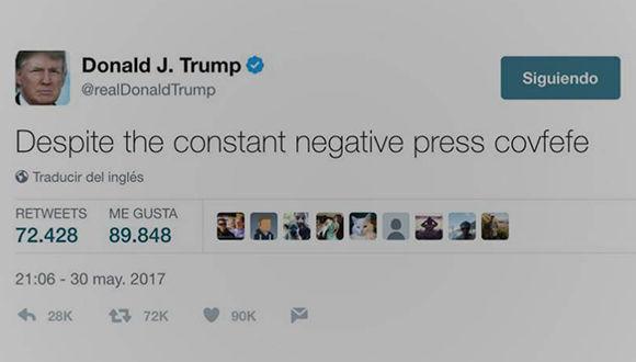 """Captura de pantalla del tweet de Donald Trump donde escribió """"covfefe""""."""