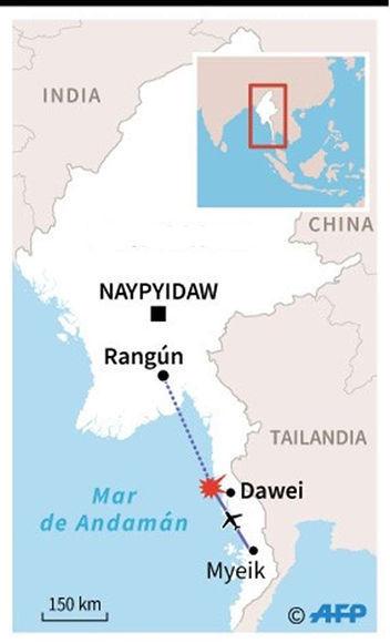 Trayectoria que realizaba el avión que desapareció en Birmania. Vía AFP.