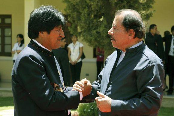 Evo Morales y Daniel Ortega, líderes de Bolivia y Nicaragua, respectivamente.