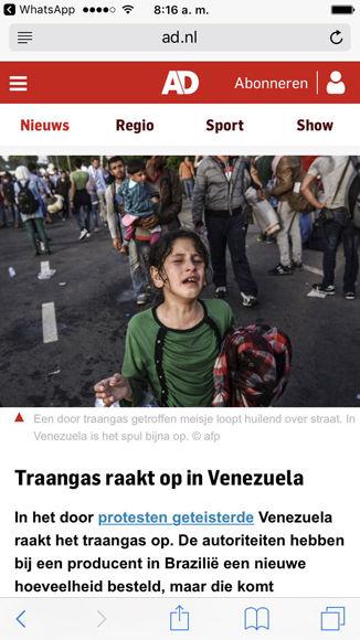 Foto falsa que utilizó el diario holandés para desinformar sobre Venezuela. Foto: @yvangil