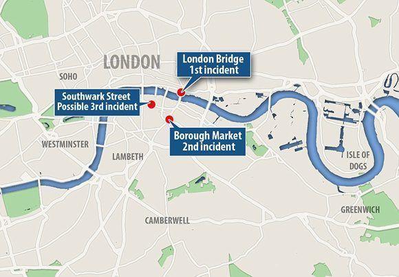 Mapa que muestra la localización de los tres ataques simultáneos que ocurren en Londres: atropello en London Bridge, Borough Market y Vauxhall. Vía Daily Mail.
