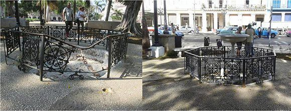 El antes y el después de la remodelación del Parque Central. Foto tomada de Habana Radio.