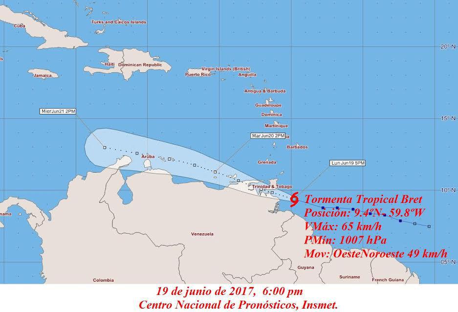 Tormenta tropical Brent gana intensidad sobre las Antillas Menores