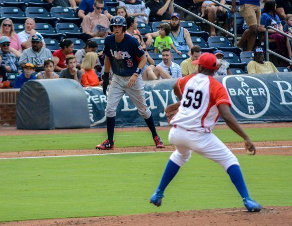 Segundo juego de béisbol del tope bilateral entre los equipos de Cuba y Estados Unidos, en el estadio Goodmon Field, en Carolina del Norte, el 03 de julio de 2017. ACN FOTO/Abel PADRÓN PADILLA