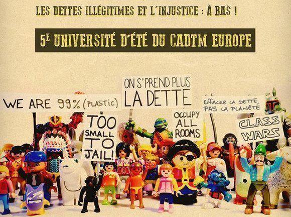 Exposición presentada en la 5ª Universidad de verano de CADTM Europa durante el plenario de apertura el 30 de junio de 2017 en Wépion. Imagen: Namur.