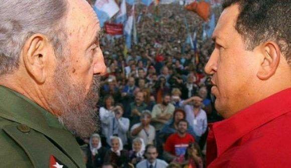 Fidel y Chávez en Argentina, año 2006. Foto: Cortesía del autor.