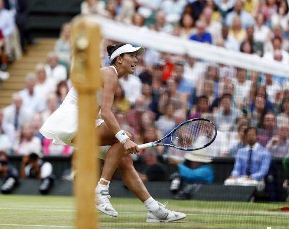 Garbiñe Muguruza durante la final de Wimbledon. Foto: EFE.