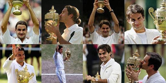 Roger Federer, campeón de Wimbledon por octava ocasión.