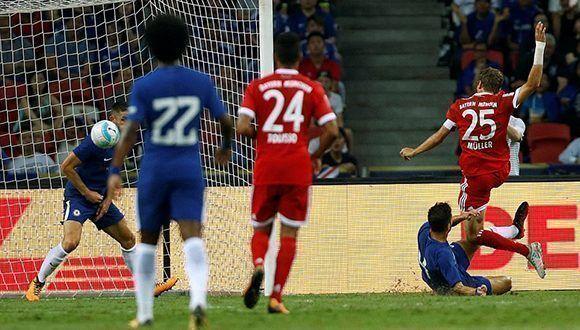 Thomas Muller anotó un doblete en la victoria del Bayern Munich sobre el Chelsea en la pretemporada. Foto: Reuters.