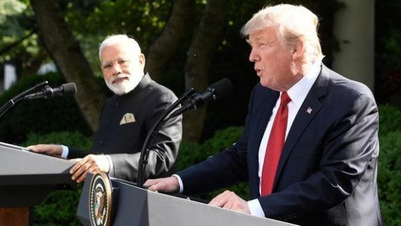 Trump junto al premier indio en la Casa Blanca. Foto: AFP