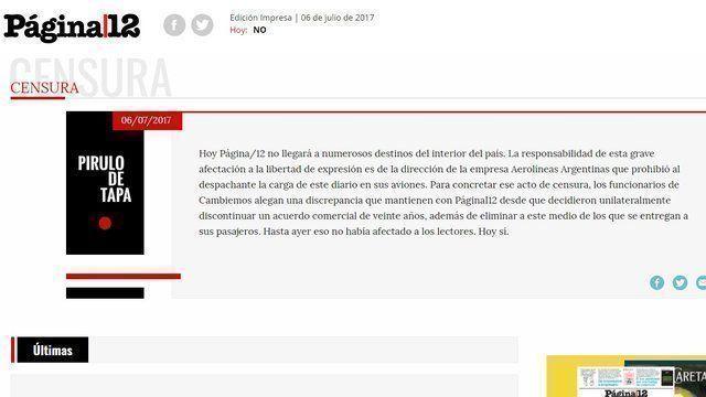 """Página 12 denuncia """"censura"""" por parte de Aerolíneas Argentinas."""