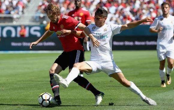 El Manchester United sufrió ante un Real Madrid con muchos canteranos. Foto: AFP.