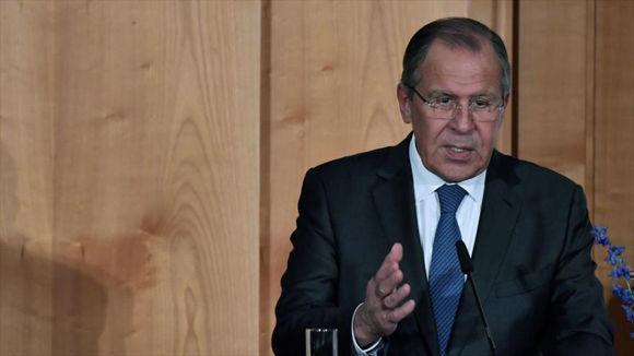 El ministro de Exteriores ruso, Serguéi Lavrov, da un discurso en la sede la Cancillería rusa, 17 de julio de 2017. Foto: Hispantv.