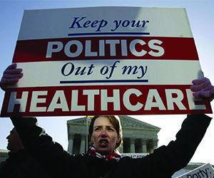 """""""Manté tus políticas fuera de mi cuidado de salud"""". Foto: AP"""