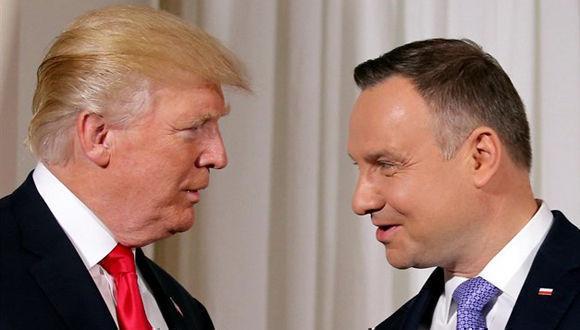 """El presidente de Estados Unidos, Donald Trump, se ha comprometido este jueves a apoyar a Polonia frente al """"comportamiento desestabilizador"""" de Rusia. Foto: Reuters."""