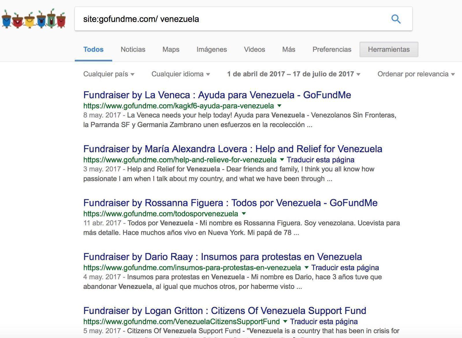 Una búsqueda en Google de campañas relacionadas con Venezuela inscritas entre el 1 de abril al día de hoy, registra decenas de peticiones de fondos para sostener la violencia en las calles de ese país.