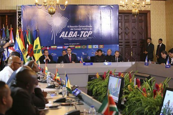 La sexta Reunión Extraordinaria del Consejo Político de la Alianza Bolivariana para los Pueblos de Nuestra América - Tratado del Comercio de los Pueblos tuvo lugar en Caracas este 8 de agosto. Foto: Prensa Miraflores.
