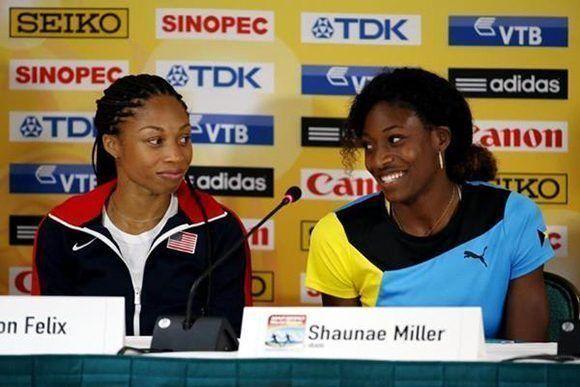 Allyson Felix (izq) vs Shaunae Miller-Uibo