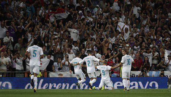 La celebración del gol de Benzema. Foto: Álvaro García.