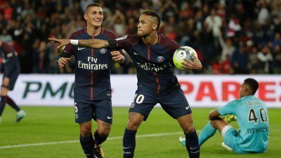 Neymar celebró uno de sus goles contra el Toulouse con un curioso baile. Foto tomada de Goal.com.