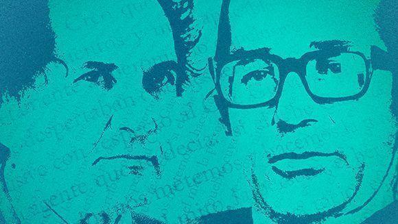 """Ricardo Piglia entrevistó a Rodolfo Walsh (der) en 1970, siete años antes de la desaparición dle autor de """"Operación Masacre"""". Imagen. Refista Anfibia."""