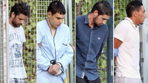 Los cuatro detenidos que declararon ante Andreu fueron (de izquierda a derecha) Mohamed Aallaa, Mohamed Houli Chemlal, Salah El Karib y Driss Oukabir. Foto:EPA