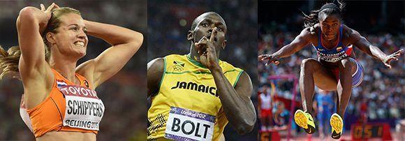 La holandesa Dafne Schippers, el jamaiquino Usain Bolt y la colombiana Caterine Ibargüen son algunas de las principales figuras del venidero Mundial de Atletismo. Imagen: Cubadebate.