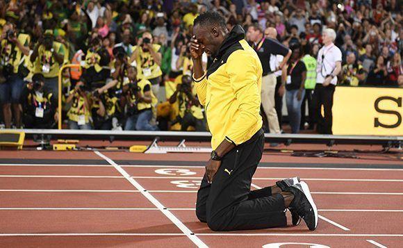 Usain Bolt durante su despedida en Londres. Foto: EFE.