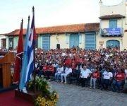 Teresa Amarelle Boué (I), Secretaria General de la Federación de Mujeres Cubanas (FMC), pronuncia las palabras centrales del acto nacional por el aniversario 57 de la FMC, en la Plaza San Juan de Dios, en Camagüey, el 23 de agosto de 2017. ACN FOTO/ Rodolfo BLANCO CUÉ/sdl