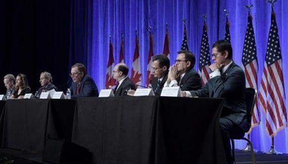 Representantes de México, Canadá y Estados Unidos en Washington. Foto: EFE