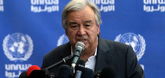 El secretario general de la ONU, Antonio Guterres, durante una rueda de prensa. Foto: AFP.
