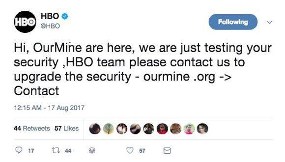 Cuenta de HBO en Twitter hackeada por el grupo OurMine. Foto: