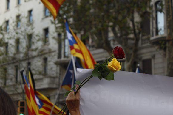 Flores rojas y amarillas en representación de los colores de Barcelona. Foto: Jennifer Veliz/ Cubadebate.
