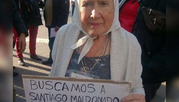 Nora Cortiñas, de la Asociación Madres de Plaza de Mayo Línea Fundadora, responsabilizó a los funcionarios de Gobierno y a Gendarmería por la desaparición de Santiago Maldonado.