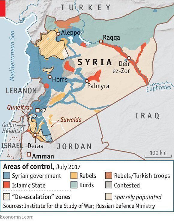 Mapa sobre la situación de parte del Medio Oriente. Autor: Economist.