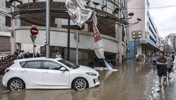 Inundaciones tras paso del tifón Hato. Foto: EFE