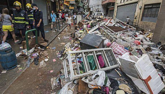 Daños ocasionados por el tifón Hato en localidades chinas. Foto: EFE