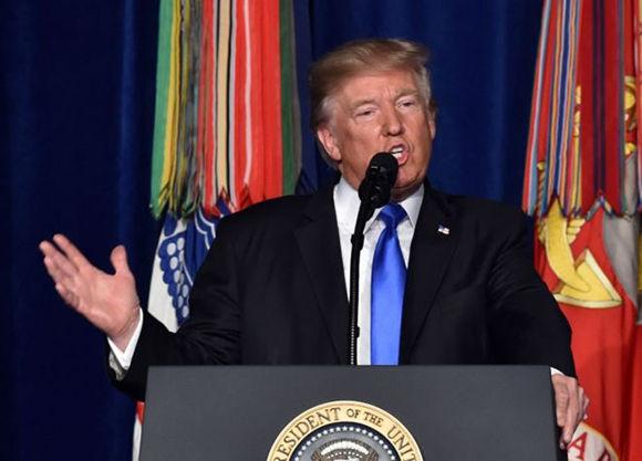 El discurso de Trump fue televisado en horario de máxima audiencia en Estados Unidos. Foto: AFP.