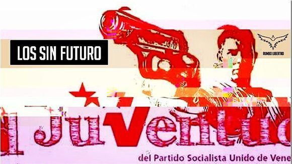 Nótese que han superpuesto la imagen de un joven con una pistola a punto de disparar—el elemento central de la composición—sobre la iconografía del líder bolivariano Hugo Chávez, en uno de los afiches de la Juventud del Partido Socialista Unido de Venezuela (PSUV).