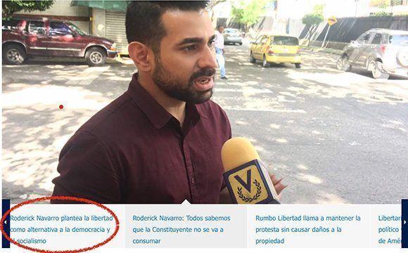 Como se puede observar en la página de Rumbo Libertad, en la mayoría de las imágenes y titulares que acompañan las noticias aparece Roderick Navarro, que no disimula su afán de protagonismo.