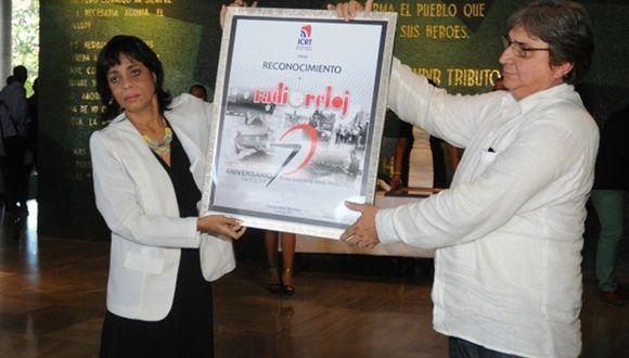Omayda Alonso durante la celebración de los 70 años de Radio Reloj