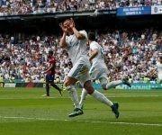 Lucas Vázquez celebra el gol del empate en el bernabéu. Foto: Reuters.