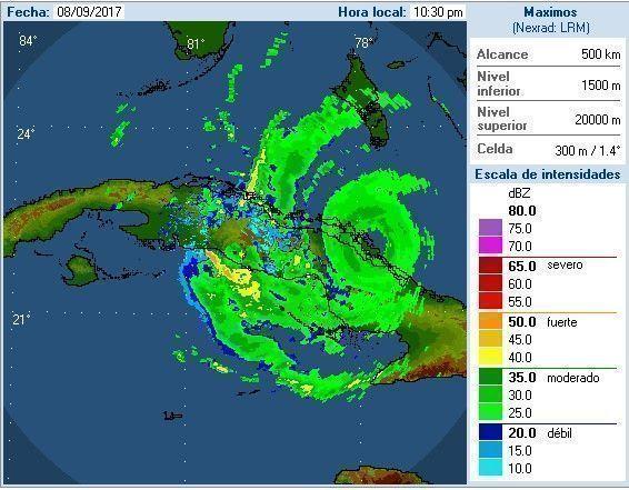Vista del Huracán Irma desde el Radar de Pico San Juan. Imagen: Sitio del INSMET a las 10:30 pm