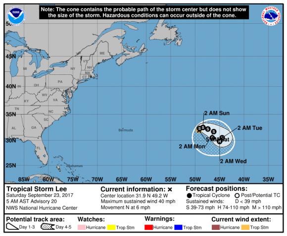 Lee, sábado 23 de septiembre. Fuente: NOAA.