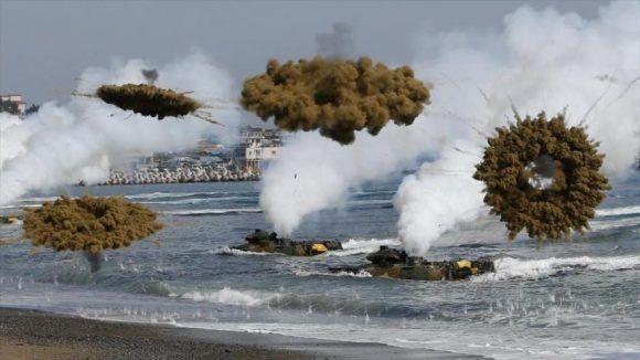 Maniobras militares entre Corea del Sur y EEUU. Foto tomada de HispanTV.