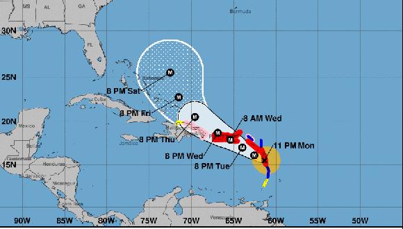 Trayectoria actual y predición futura del Huracán María (NOAA)