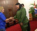 Mercedes López Acea recibió hoy a la primera dama de Panamá, Lorena Castillo. Foto: PL.